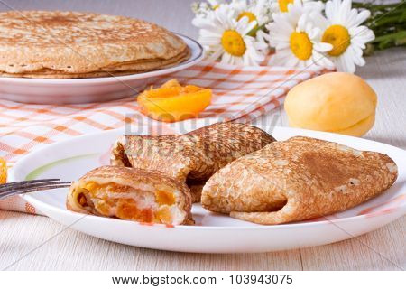 Pancakes With Curd Cheese And Dried Apricot