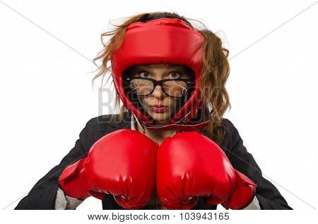 Woman boxer isolated on white background