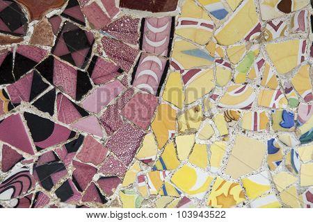 Pink and yellow mosaic