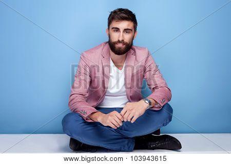 Handsome Young Man Posing In Studio.