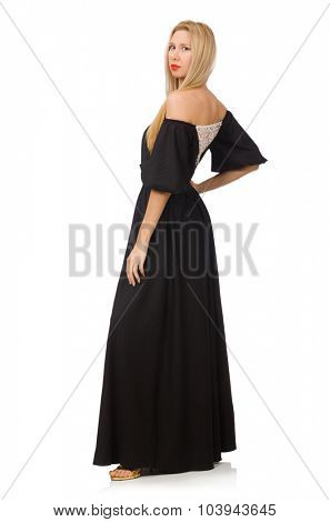 Tall woman in long black dress isolated on white