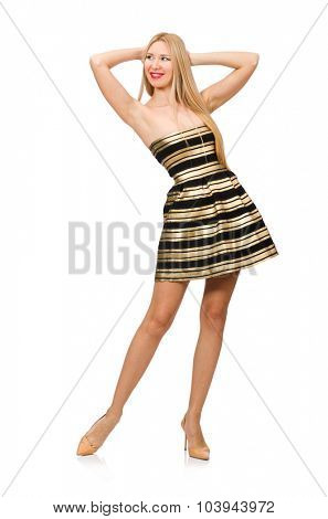 Beautiful girl in gold and black dress isolated on white