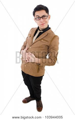 Young man in brown jacket isolated on white