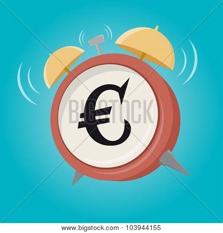 euro sign cartoon alarm clock