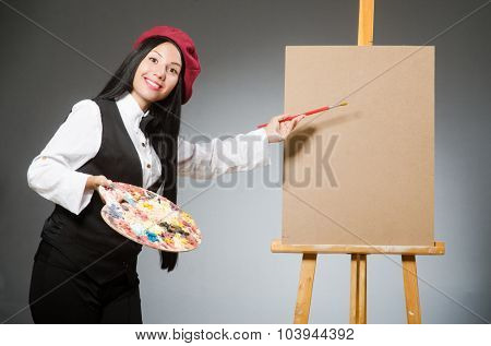 Funny artist working in the studio