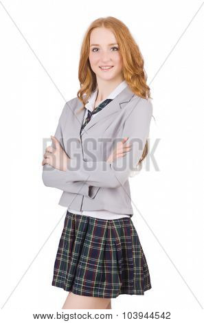 Young redhead student female isolated on white
