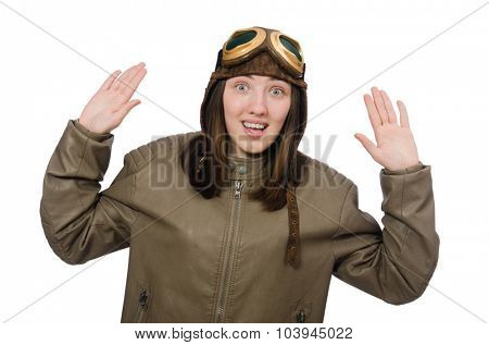Woman pilot isolated on the white