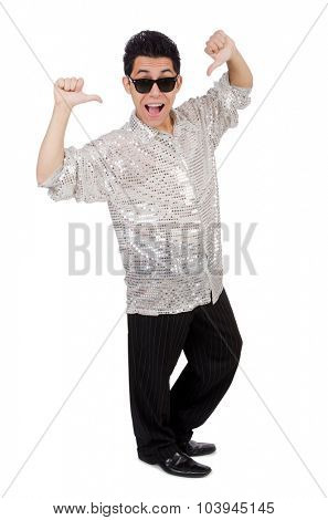 Young man in silver shirt isolated on white