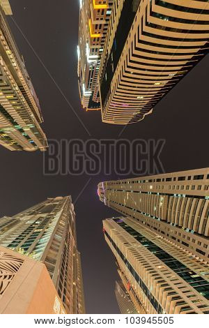 Skyscrapers of dubai during night hours
