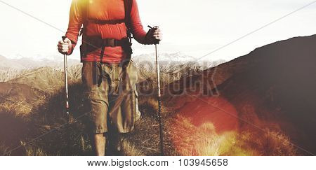 Backpacker Extreme Hiking Rugged Mountains Concept