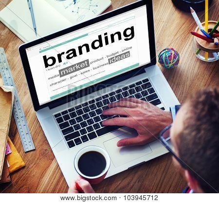 Digital Dictionary Branding Market Ideas Concept