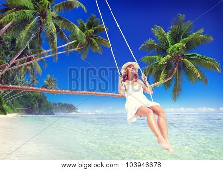 Woman Relaxing on the Beach Comfortable Concept