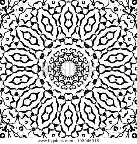 Symmetrical black and white pattern seamless ornament indian artwork