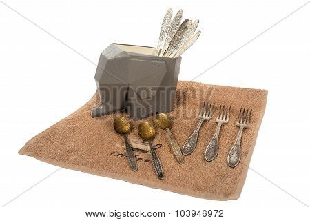 Support For Drying Of Spoons And Forks