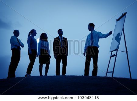 Business Meeting Communication Discussion Gesturing Concept