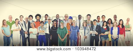Group of Multiethnic Diverse Mixed Occupation People Concept