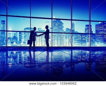 Business People Handshake Silhouette Concept