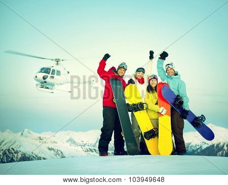 Snowboarders Success Sport Friendship Snowboarding Concept