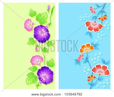 Vertical floral curtain, textile or wrapping designs