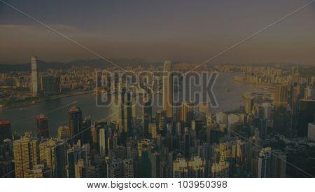 Hong Kong Skyscraper Sunset Panoramic Concept