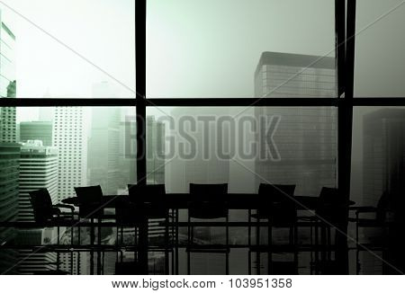 Silhouette Meeting Table Office Room Window Indoor Concept