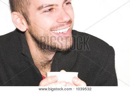 Male Chatting On Tea