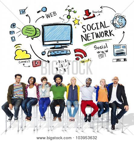 Social Network Social Media Friendship People Diversity Concept