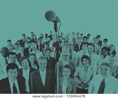 Business Presentation Speech Microphone Group Crowd