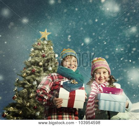 Christmas Children Gifts Happiness Celebration Snow Concept