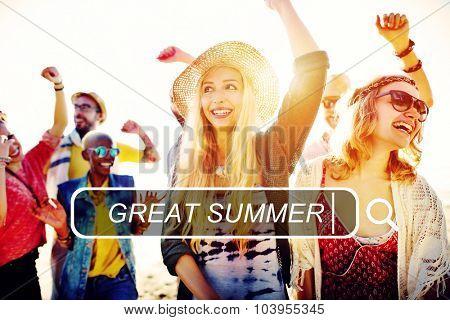 Great Summer Beach Enjoyment Freedom Fun Concept