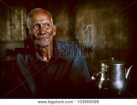 Ola Tea House Man Solitude Wisdom Cambodian Concept
