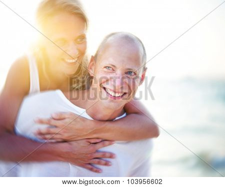 Honeymoon Couple Summer Beach Holidays Concept