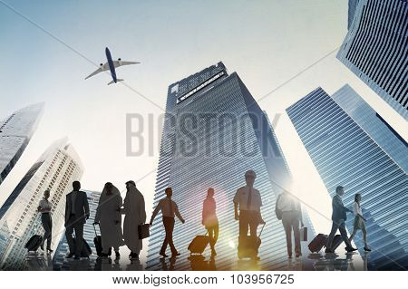 Business People Walking Corporate Travel Airplane Concept