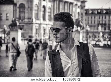 Fashionable Man in Sunglasses in City Square