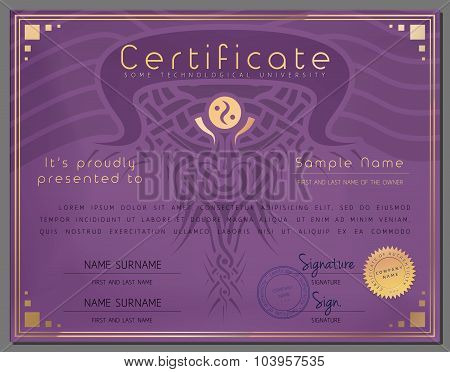 Gift Certificate / Diploma / Award Border Template Of Course Completion On Paper With Watermark