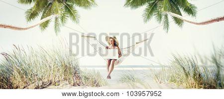 Woman Relaxation Beach Working Enjoyment Concept