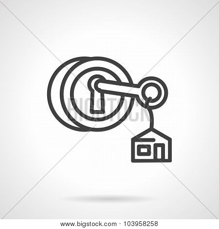 Lock with key black line vector icon