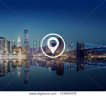 Location Navigation Destination Journey Position Concept