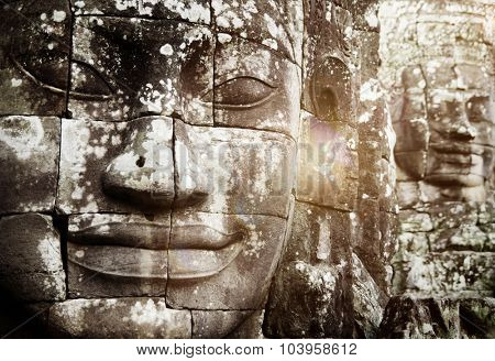 Buddha Faces Angkor Thom Siam Reap Cambodia Concept