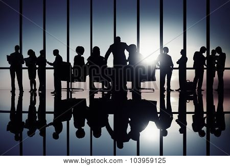 Silhouette Business People Corporate Discussion Meeting Concept