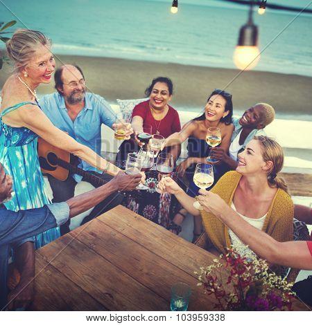 Friends Celebration Beach Happiness Concept