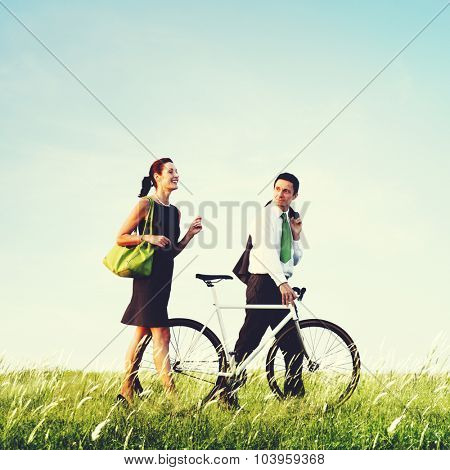 Business Man Woman Pushing Bike Concept