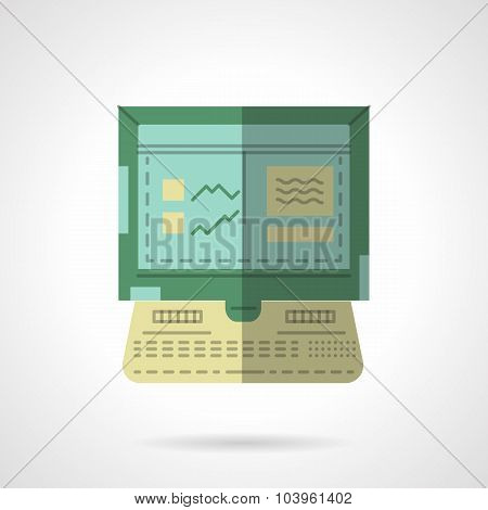 Computer car test flat vector icon