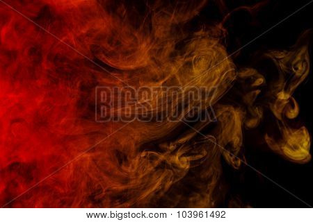 Abstract Crimson-yellow Smoke Hookah On A Black Background.