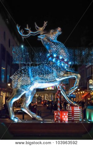 Silver Reindeer Christmas Decoration At Covent Garden, London