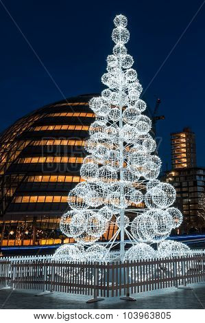 Christmas Tree At London City Hall