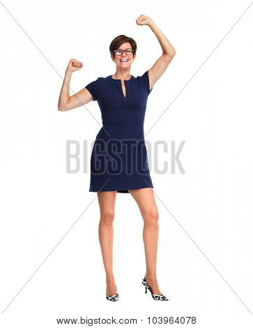 Dancing business woman with short hairstyle isolated white background