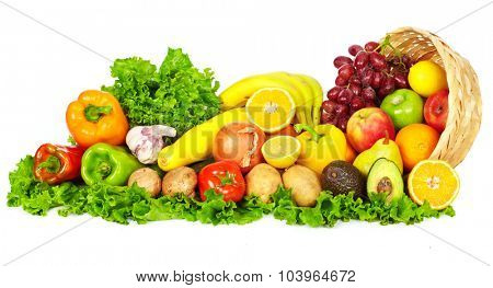 Vegetables and fruits isolated over white background. Diet and nutrition.