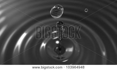 Drop Of Dark Water Macro With The Focus Effect (drop 2)