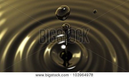 Drop Of Crude Oil Macro With The Focus Effect (drop 2)
